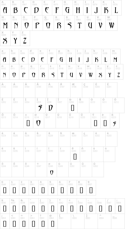 Lettere dell'alfabeto del font abaddon con le quali è possibile realizzare adesivi prespaziati