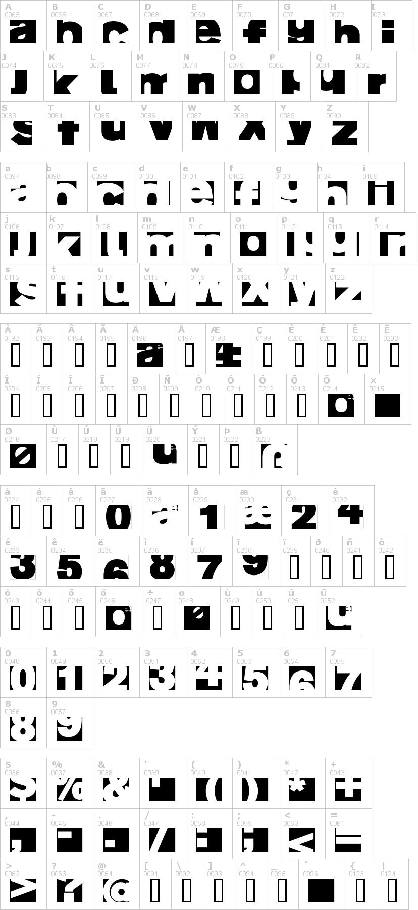 Lettere dell'alfabeto del font ai-fragment con le quali è possibile realizzare adesivi prespaziati