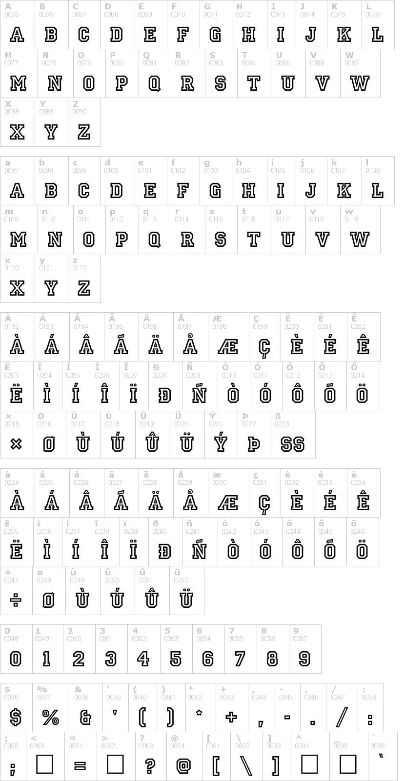 Lettere dell'alfabeto del font allstar con le quali è possibile realizzare adesivi prespaziati
