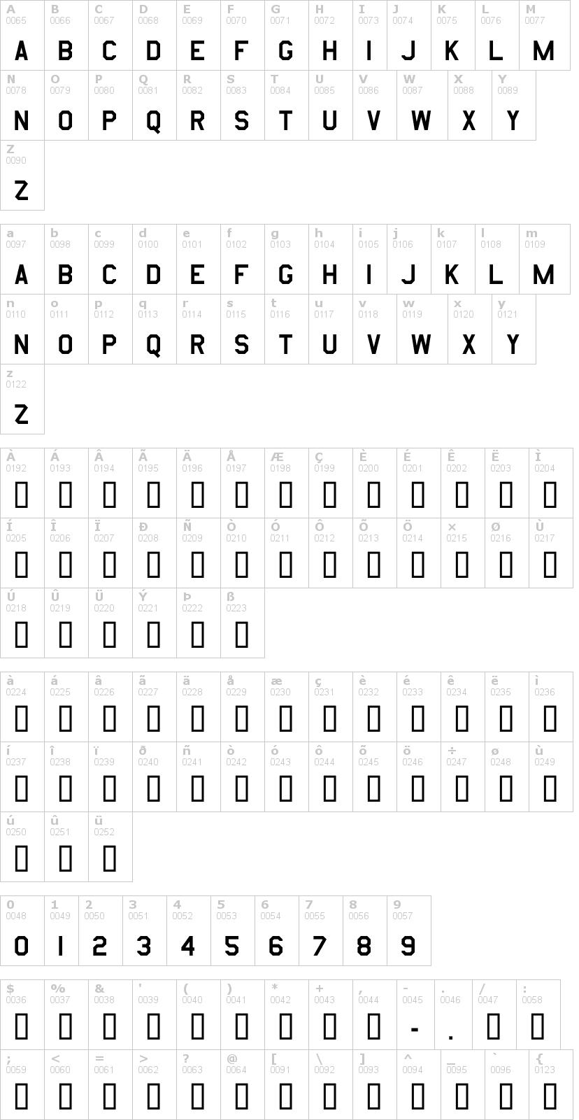 Lettere dell'alfabeto del font amarillo-usaf con le quali è possibile realizzare adesivi prespaziati
