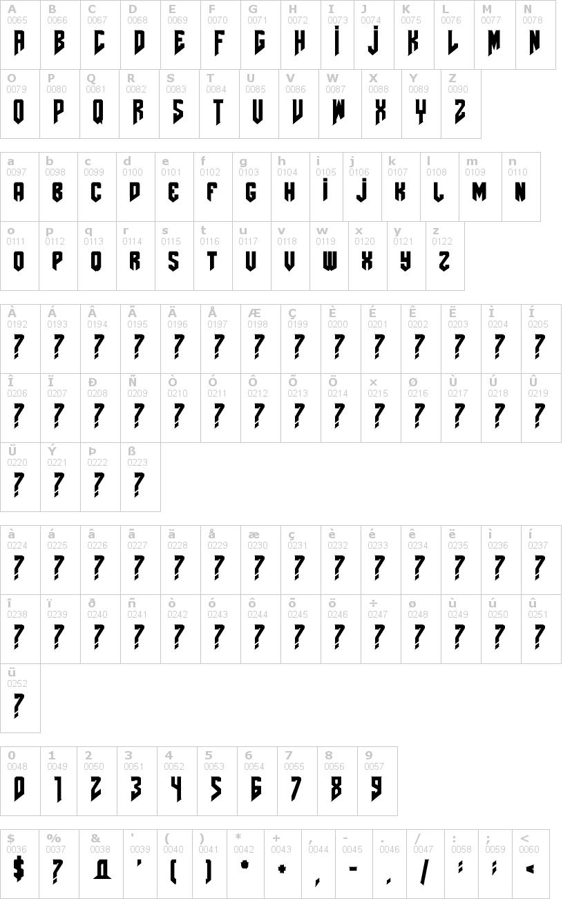 Lettere dell'alfabeto del font amazdoom con le quali è possibile realizzare adesivi prespaziati