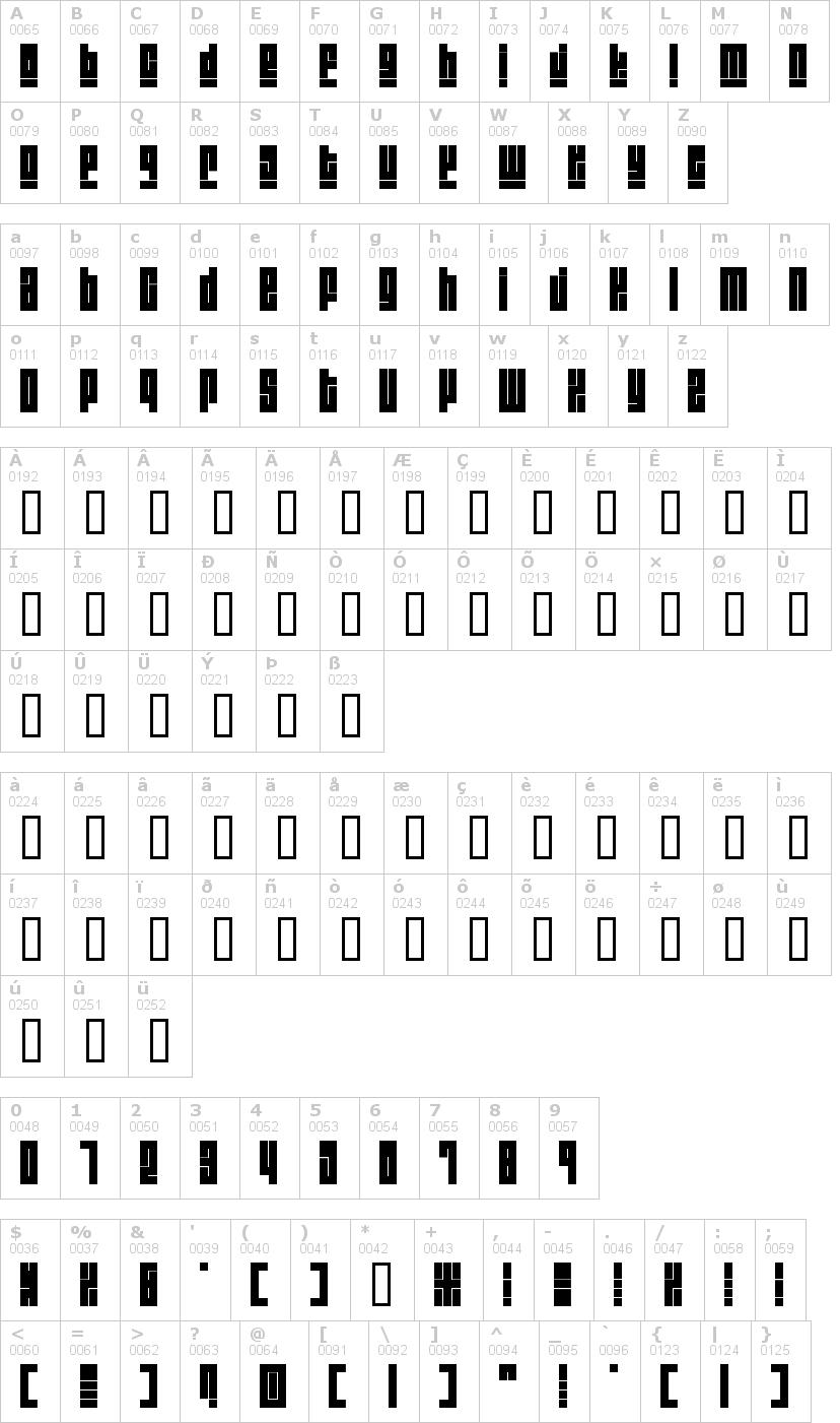 Lettere dell'alfabeto del font blackout con le quali è possibile realizzare adesivi prespaziati