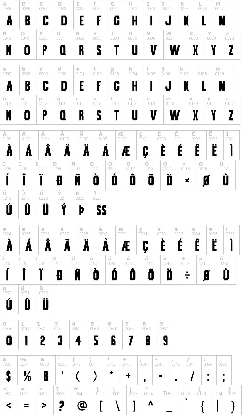 Lettere dell'alfabeto del font bou-collegiate con le quali è possibile realizzare adesivi prespaziati
