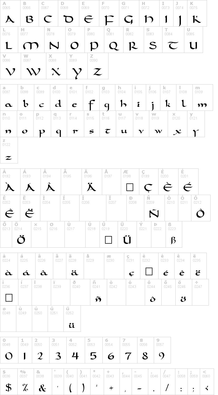 Lettere dell'alfabeto del font carolingia con le quali è possibile realizzare adesivi prespaziati