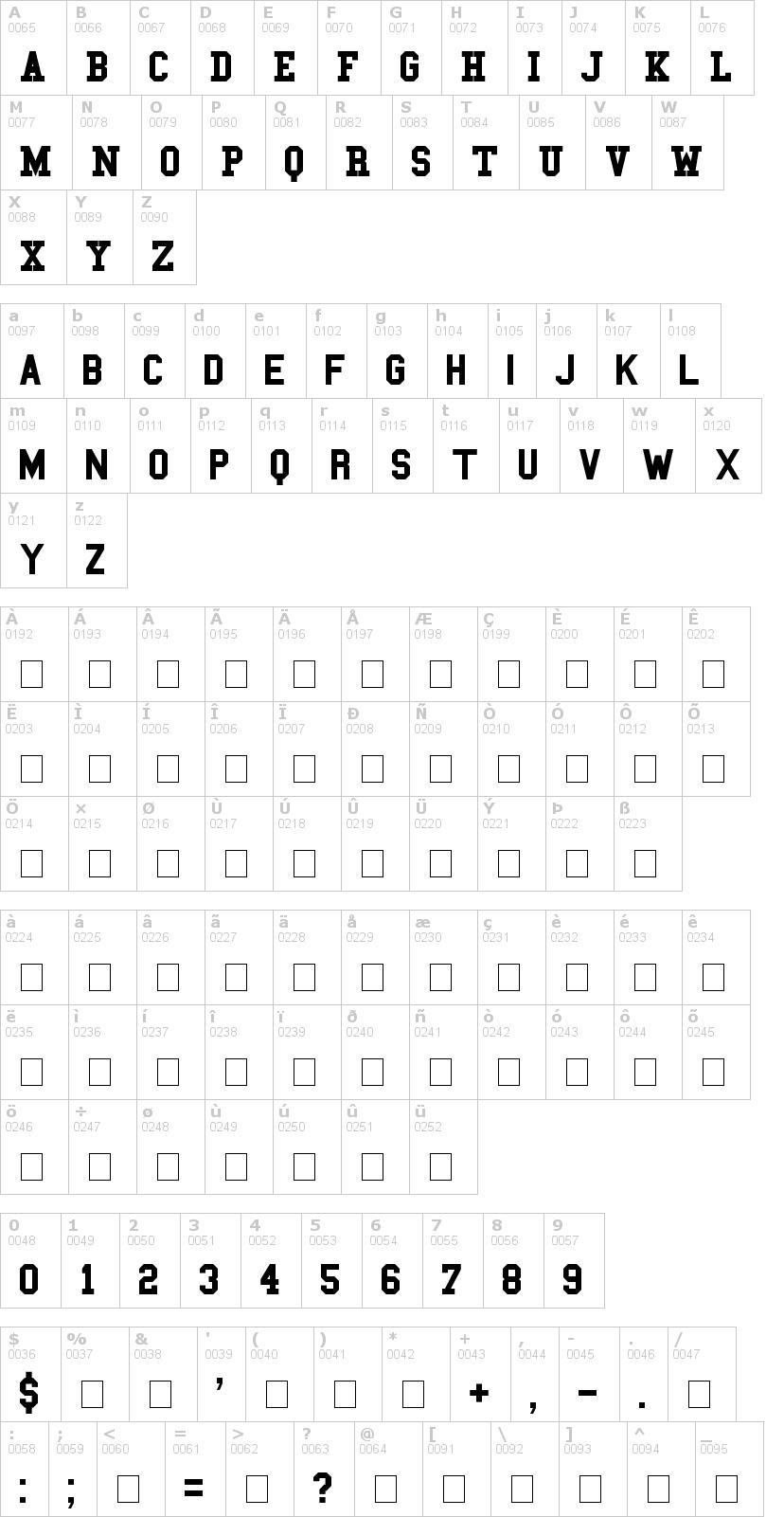 Lettere dell'alfabeto del font college con le quali è possibile realizzare adesivi prespaziati