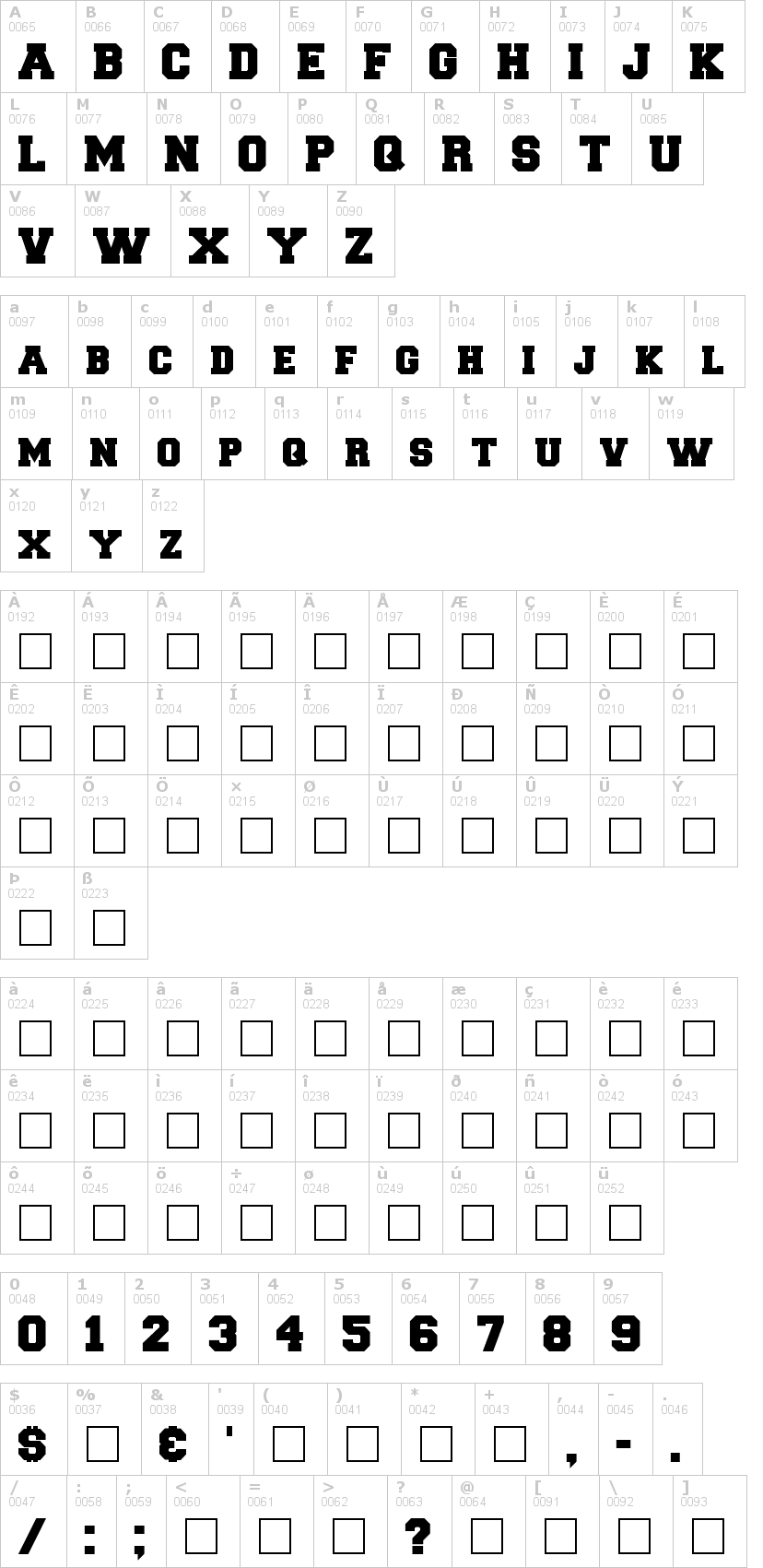 Lettere dell'alfabeto del font freshman con le quali è possibile realizzare adesivi prespaziati