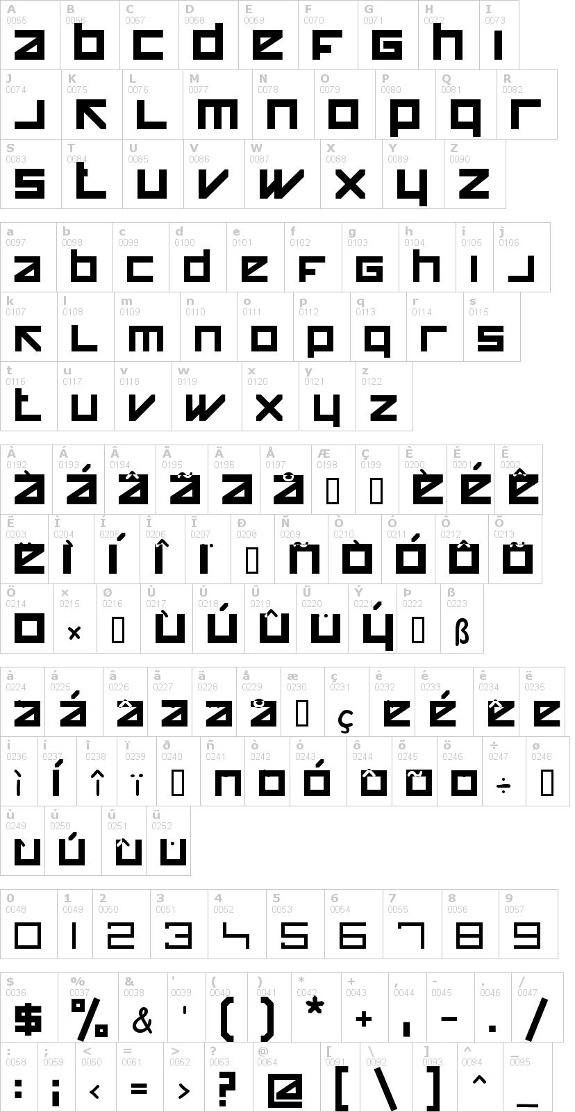 Lettere dell'alfabeto del font happy-killer con le quali è possibile realizzare adesivi prespaziati
