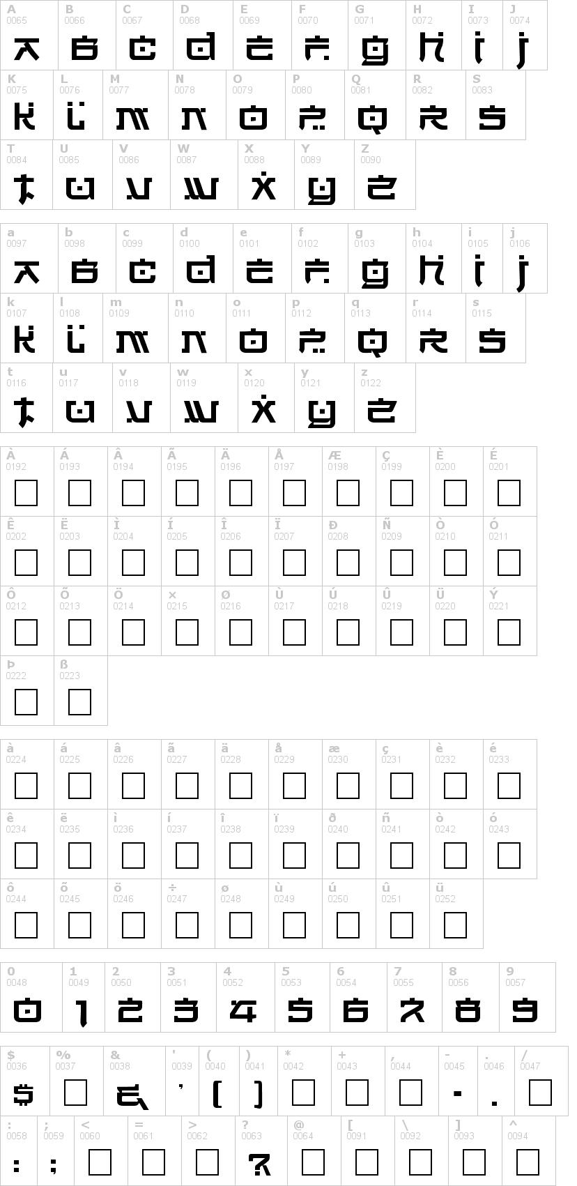 Lettere dell'alfabeto del font hirosh con le quali è possibile realizzare adesivi prespaziati