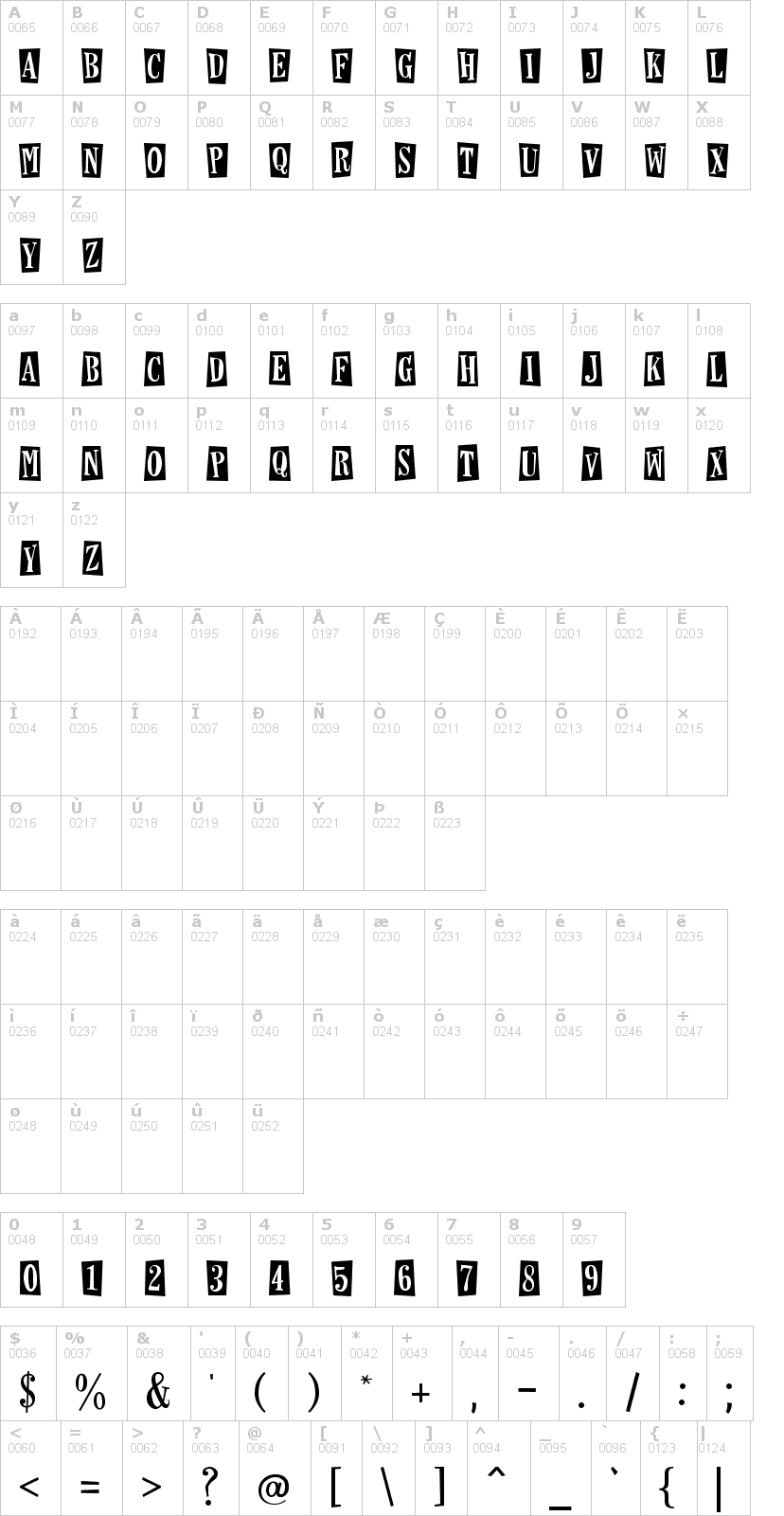 Lettere dell'alfabeto del font horseshoes-and-lemonade con le quali è possibile realizzare adesivi prespaziati