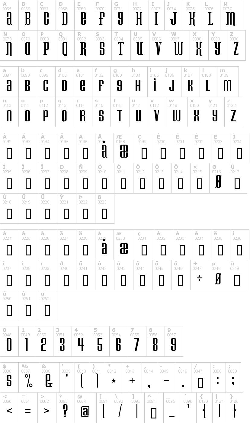 Lettere dell'alfabeto del font konspiracy-theory con le quali è possibile realizzare adesivi prespaziati