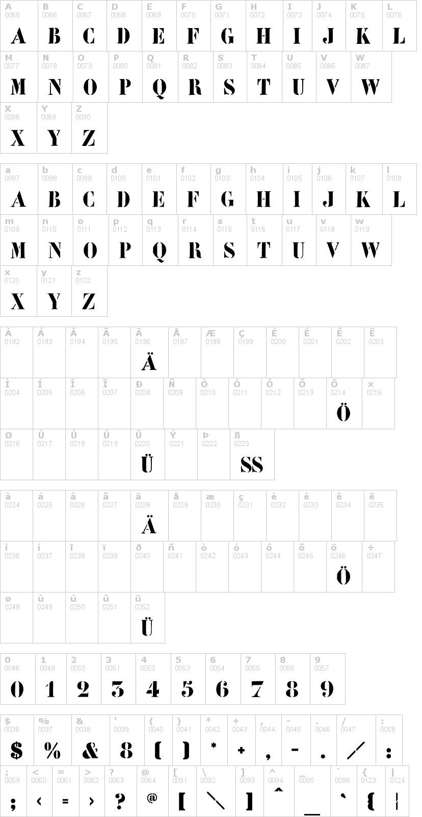 Lettere dell'alfabeto del font learchitect con le quali è possibile realizzare adesivi prespaziati