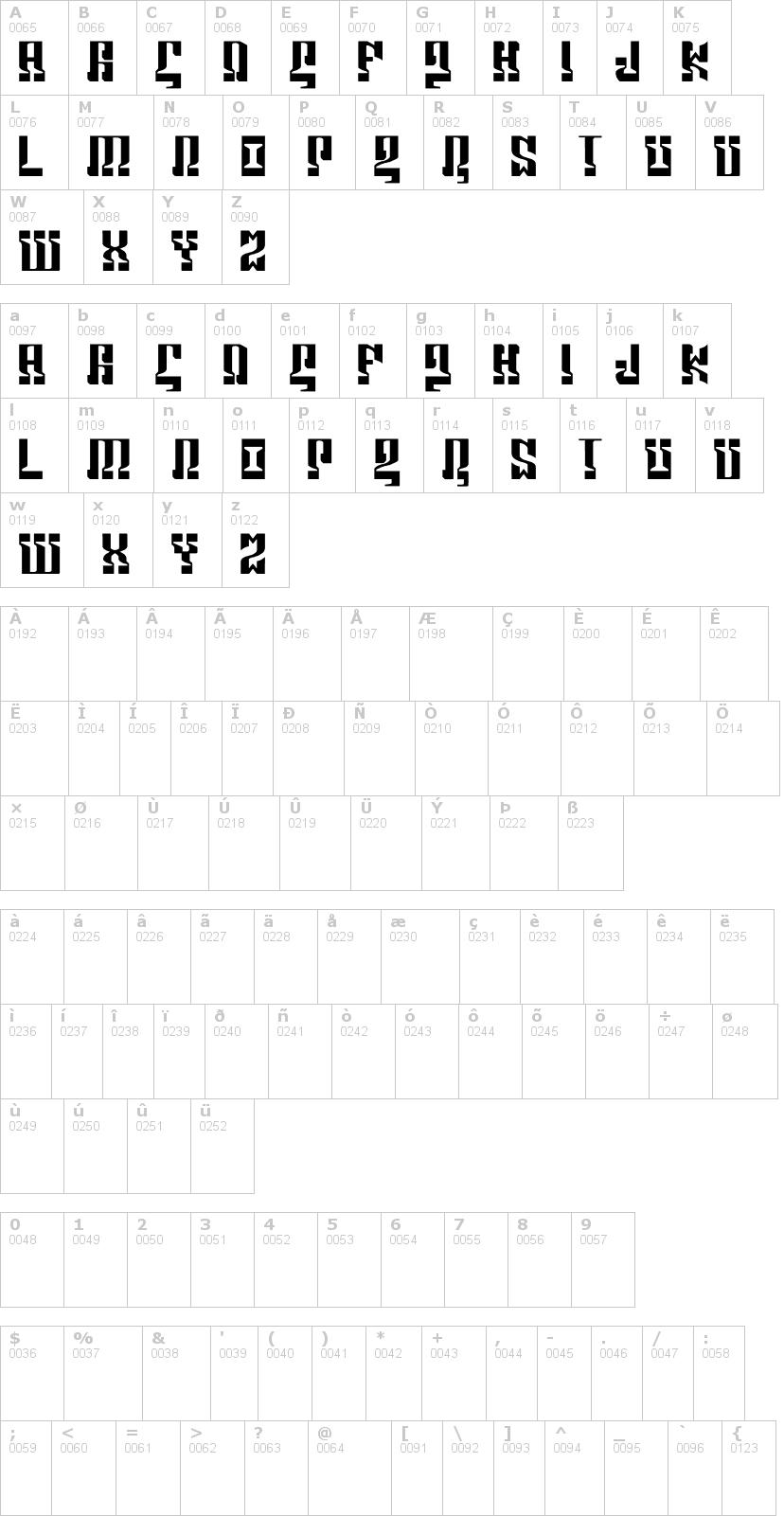 Lettere dell'alfabeto del font marshorsbn con le quali è possibile realizzare adesivi prespaziati