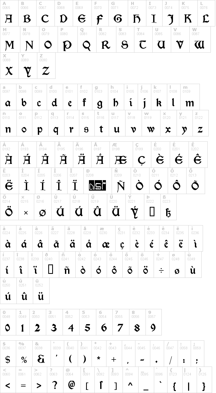 Lettere dell'alfabeto del font morris-roman con le quali è possibile realizzare adesivi prespaziati