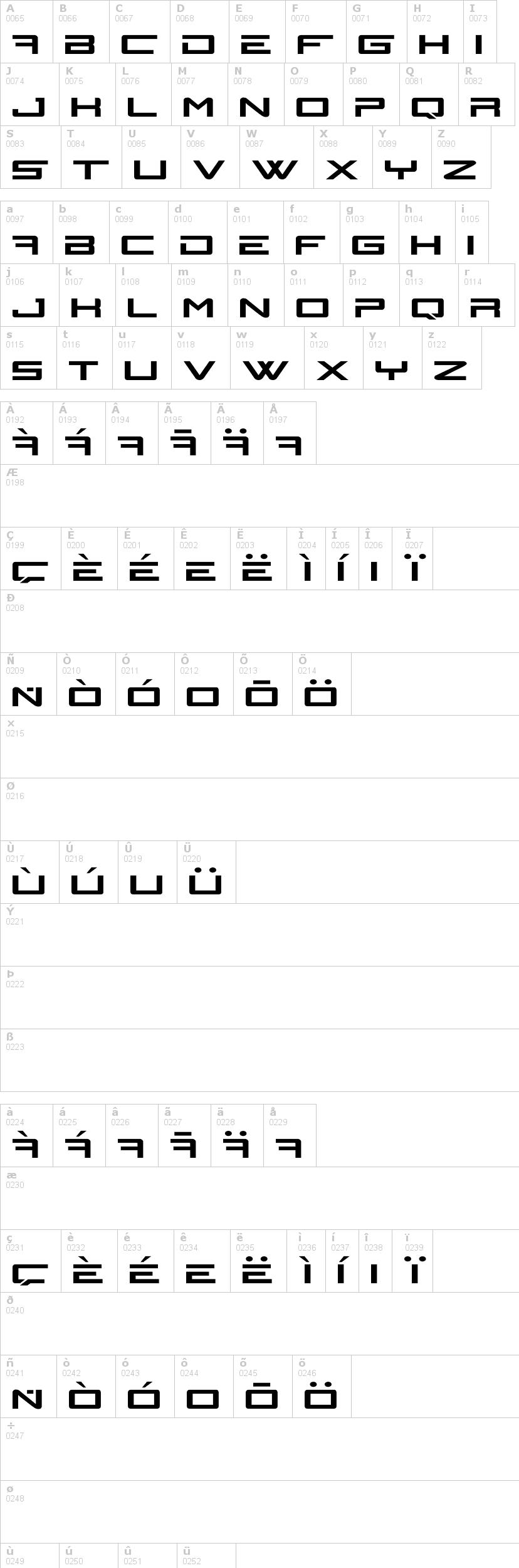 Lettere dell'alfabeto del font n-gage con le quali è possibile realizzare adesivi prespaziati