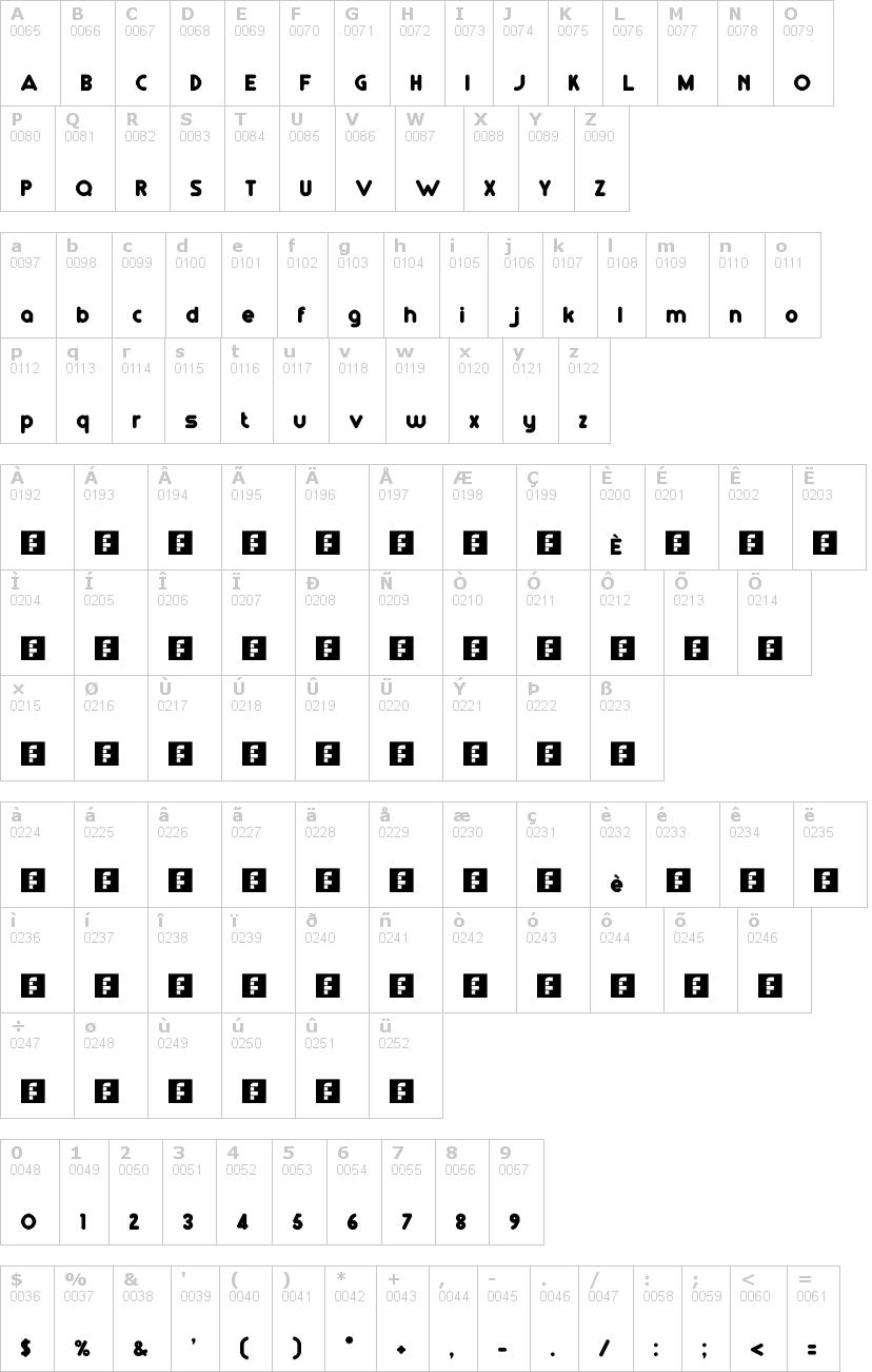 Lettere dell'alfabeto del font rm-playtime con le quali è possibile realizzare adesivi prespaziati