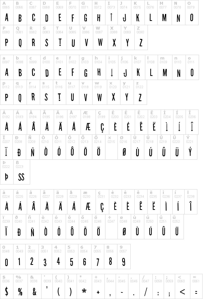 Lettere dell'alfabeto del font stereofidelic con le quali è possibile realizzare adesivi prespaziati