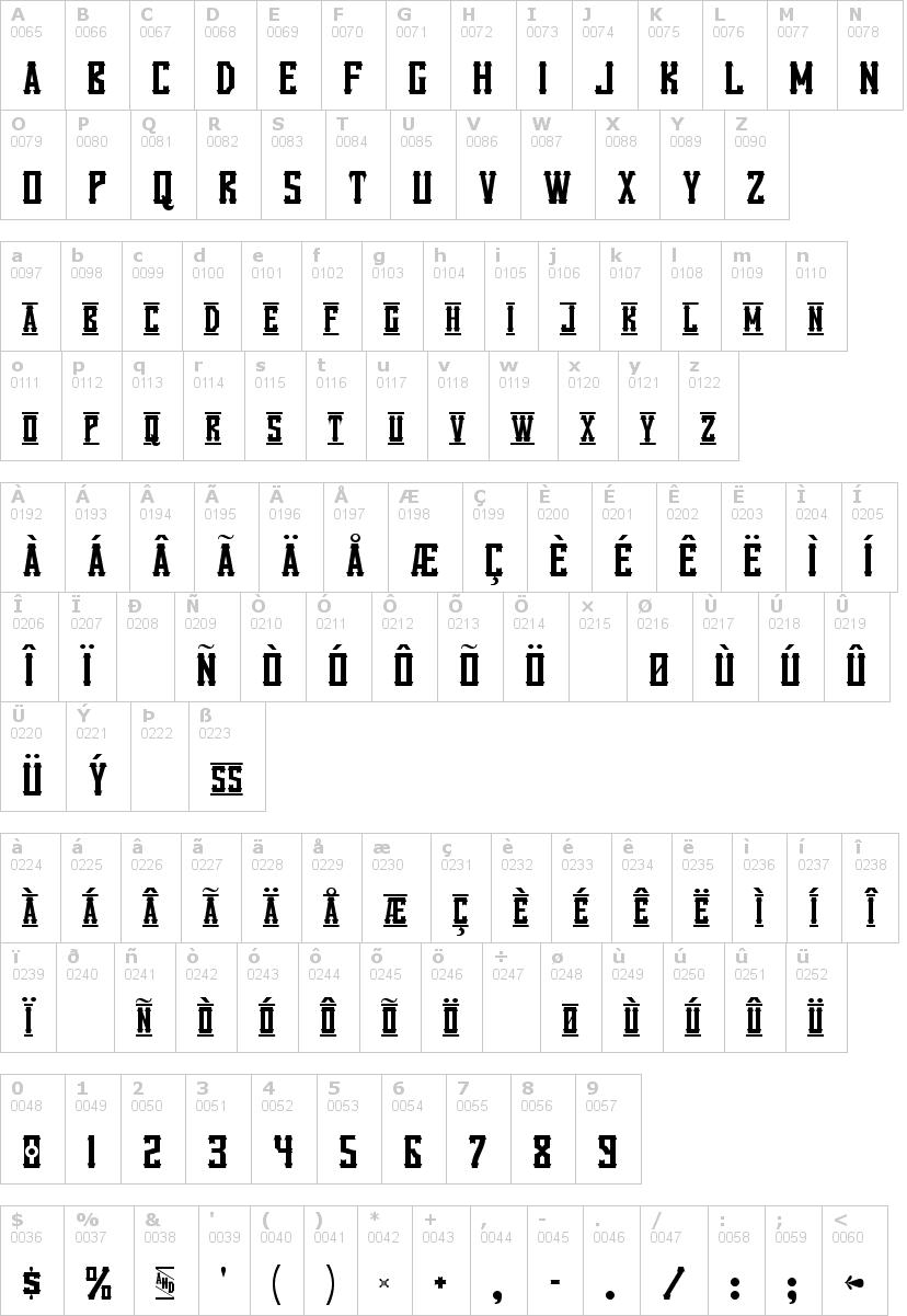 Lettere dell'alfabeto del font vanilla-whale con le quali è possibile realizzare adesivi prespaziati