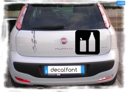 L'effetto dell'adesivo Lattina bibita bottiglia su una Fiat Punto
