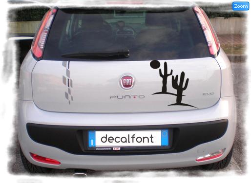 L'effetto dell'adesivo sticker-deserto su una Fiat Punto